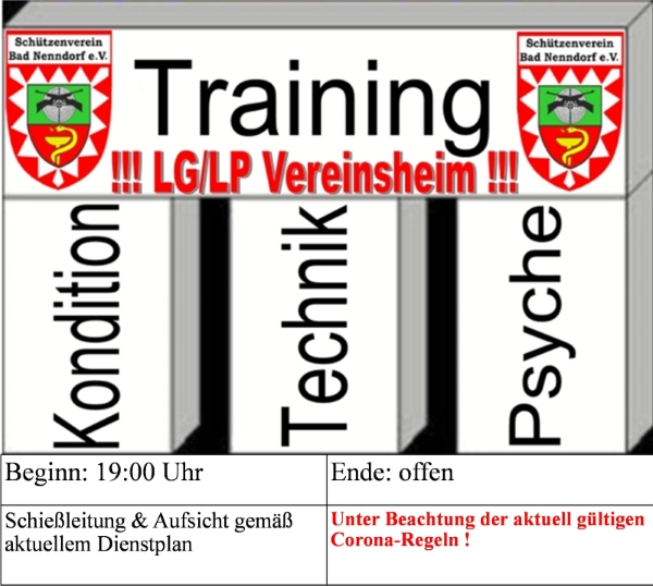 training lg lp vereinsheim